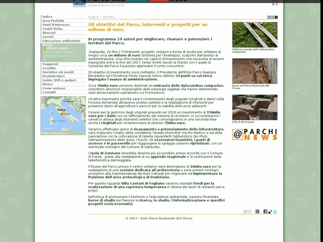 PN Circeo - Gli obiettivi del Parco, interventi e progetti per un milione di euro.