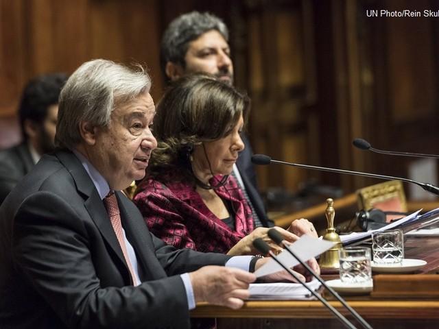 Guterres al Parlamento italiano: «Nuovi e pericolosi rischi globali richiedono soluzioni multilaterali»
