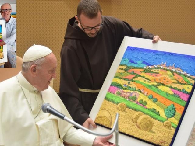 Un quadro dell'artista maceratese Stefano Calisti in dono al Papa (FOTO)