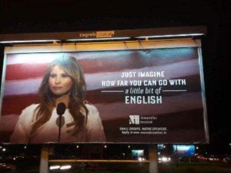 «Dove puoi arrivare con un po? d?inglese»: sulla pubblicità del centro linguistico spunta Melania Trump