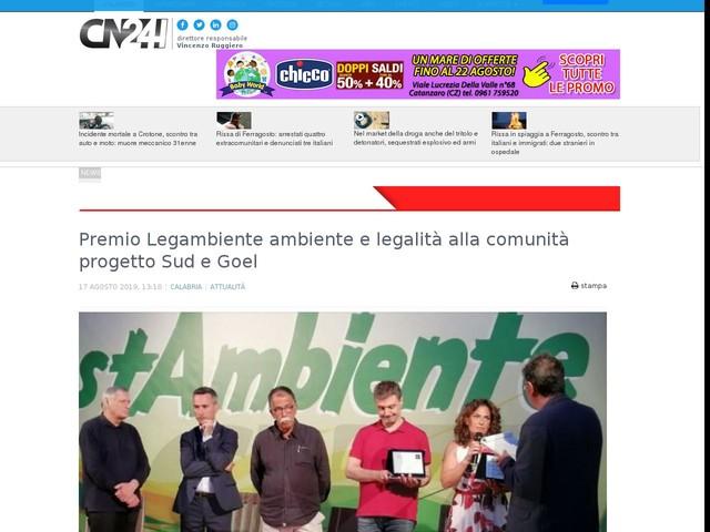 Premio Legambiente ambiente e legalità alla comunità progetto Sud e Goel