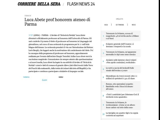 Luca Abete prof honorem ateneo di Parma