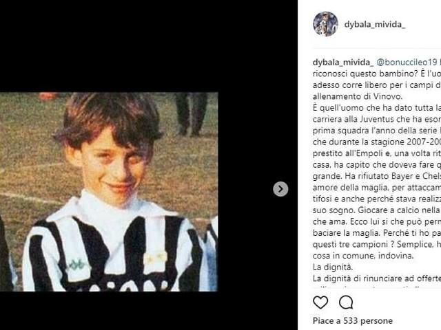 Il like di Marchisio al post su Bonucci senza dignità e codardo