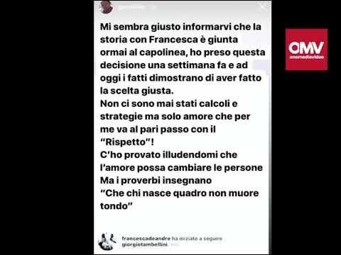 """Gennaro Lillio svela: """"La storia con Francesca De Andrè è finita"""" – VIDEO"""