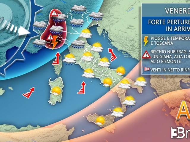 AVVISO meteo: IMMINENTE MALTEMPO con temporali, burrasche di vento e neve, dettagli
