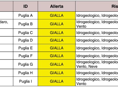 Puglia: maltempo, allerta neve. Anche temporali e vento forte Meteo, protezione civile