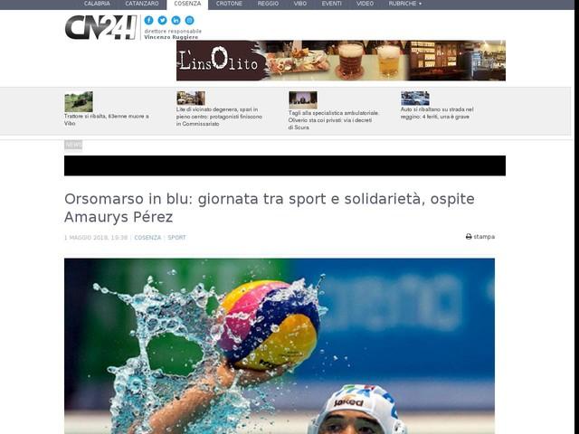 Orsomarso in blu: giornata tra sport e solidarietà, ospite Amaurys Pérez