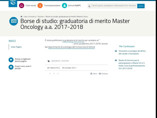 Borse di studio: graduatoria di merito Master Oncology a.a. 2017-2018