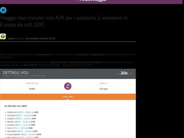 Viaggio last minute: voli A/R per i prossimi 2 weekend in Europa da soli 20€!