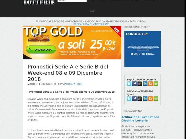 Pronostici Serie A e Serie B del Week-end 08 e 09 Dicembre 2018