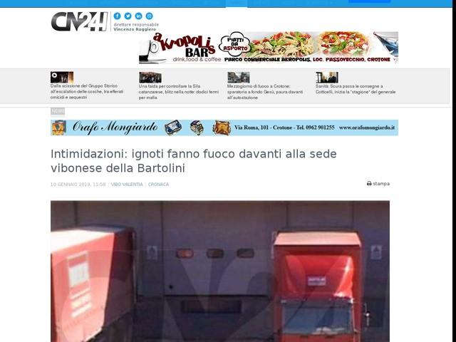 Intimidazioni: ignoti fanno fuoco davanti alla sede vibonese della Bartolini