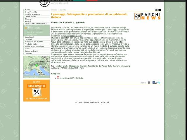 PR Oglio Sud - I paesaggi. Salvaguardia e promozione di un patrimonio italiano