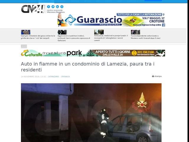 Auto in fiamme in un condominio di Lamezia, paura tra i residenti
