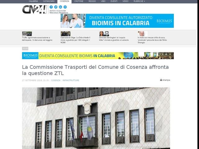La Commissione Trasporti del Comune di Cosenza affronta la questione ZTL