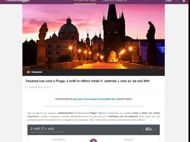 Vacanza low cost a Praga: 2 notti in ottimo Hotel 3* centrale + volo a/r da soli 65€!