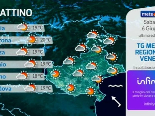 Meteo Verona, le previsioni del tempo per sabato 6 giugno 2020
