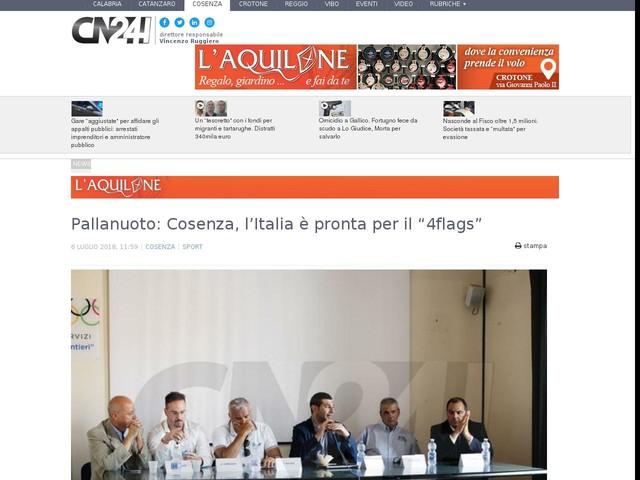 """Pallanuoto: Cosenza, l'Italia è pronta per il """"4flags"""""""