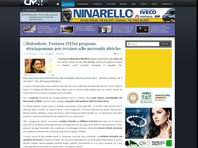 Belvedere. Ferrara (M5s) propone stratagemma per ovviare alle morosità idriche