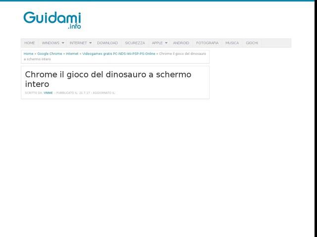 Chrome il gioco del dinosauro a schermo intero