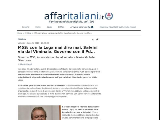 M5S: con la Lega mai dire mai, Salvini via dal Viminale. Governo con il Pd...