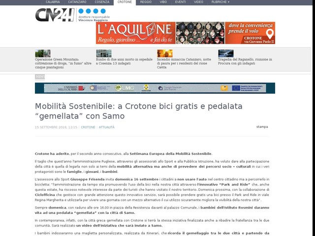 """Mobilità Sostenibile: a Crotone bici gratis e pedalata """"gemellata"""" con Samo"""