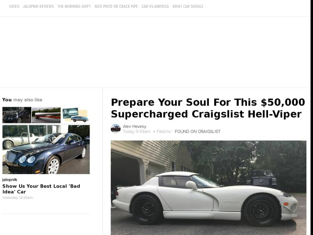 Prepare Your Soul For This $50,000 Supercharged Craigslist Hell-Viper