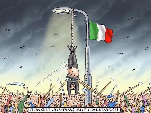 La vignetta tedesca con Matteo Salvini appeso a testa in giù