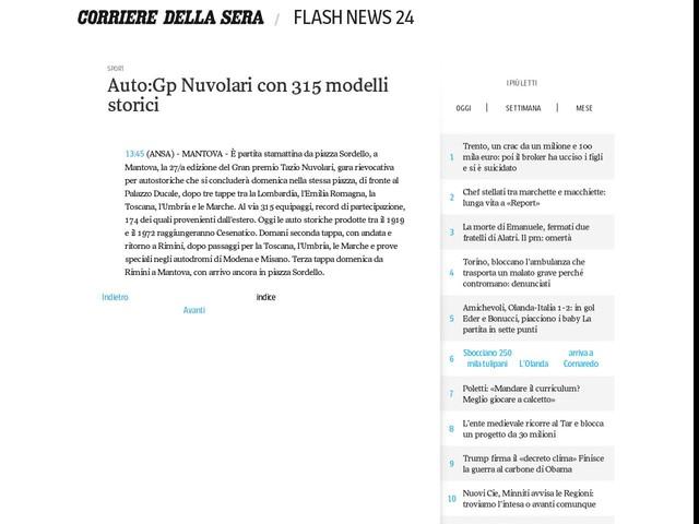Auto:Gp Nuvolari con 315 modelli storici
