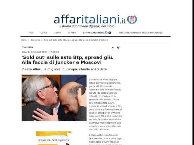 Sold out sulle aste Btp, spread giù Alla faccia di Juncker e Moscovici