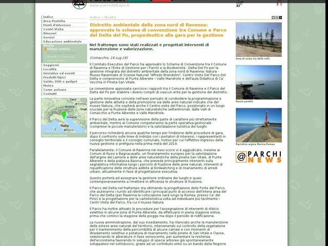 PR Delta Po ER - Distretto ambientale della zona nord di Ravenna: approvato lo schema di convenzione tra Comune e Parco del Delta del Po, propedeutico alla gara per la gestione