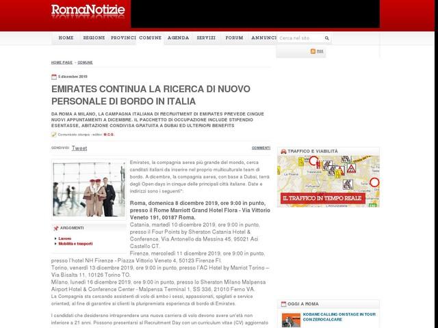 Emirates continua la ricerca di nuovo personale di bordo in Italia