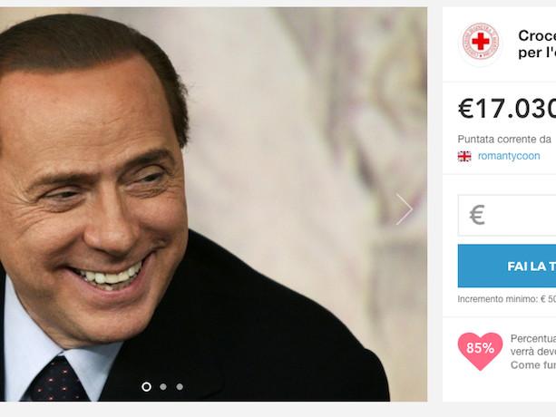 Silvio Berlusconi va all'asta per la croce Rossa Italiana