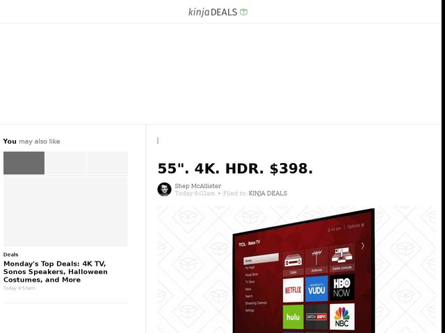 "55"". 4K. HDR. $398."