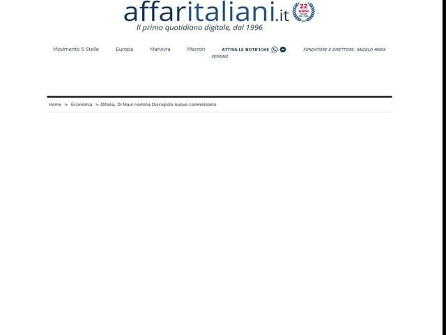Alitalia, Di Maio nomina Discepolo nuovo commissario