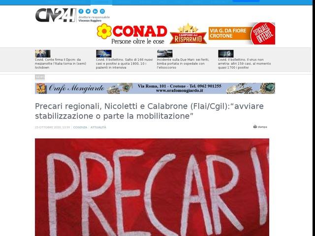 """Precari regionali, Nicoletti e Calabrone (Flai/Cgil):""""avviare stabilizzazione o parte la mobilitazione"""""""