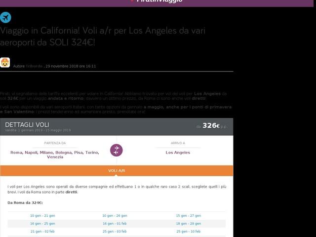 Viaggio in California! Voli a/r per Los Angeles da vari aeroporti da SOLI 324€!