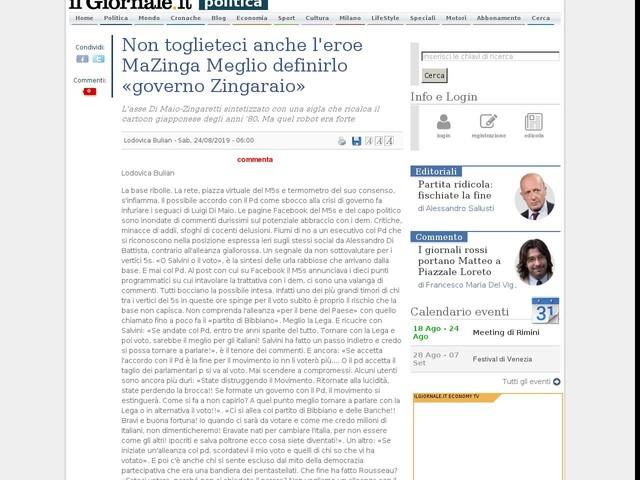 Non toglieteci anche l'eroe MaZinga Meglio definirlo «governo Zingaraio»