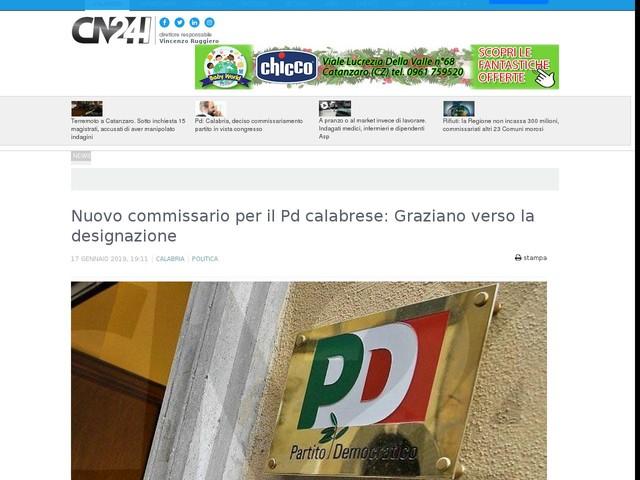 Nuovo commissario per il Pd calabrese: Graziano verso la designazione