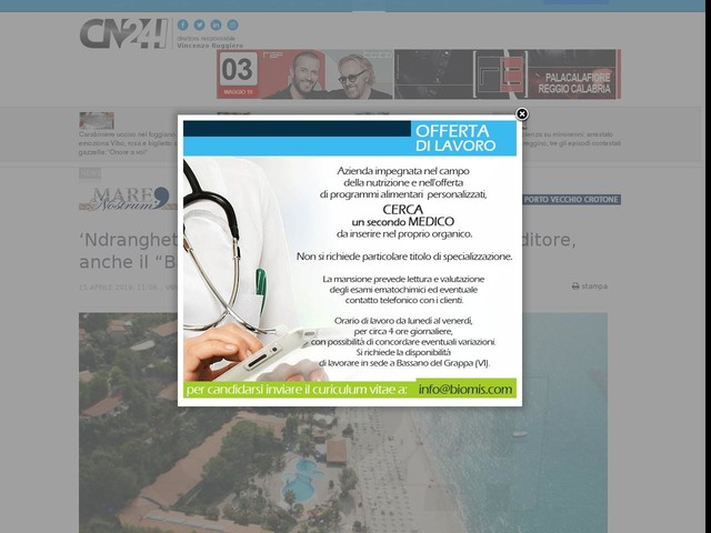 """'Ndrangheta: beni per 12 mln confiscati a imprenditore, anche il """"Baia Tropea Resort"""""""