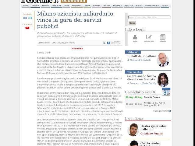 Milano azionista miliardario vince la gara dei servizi pubblici