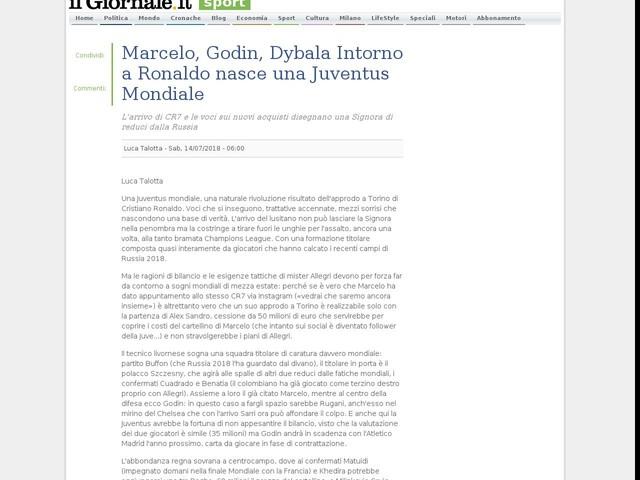 Marcelo, Godin, Dybala Intorno a Ronaldo nasce una Juventus Mondiale