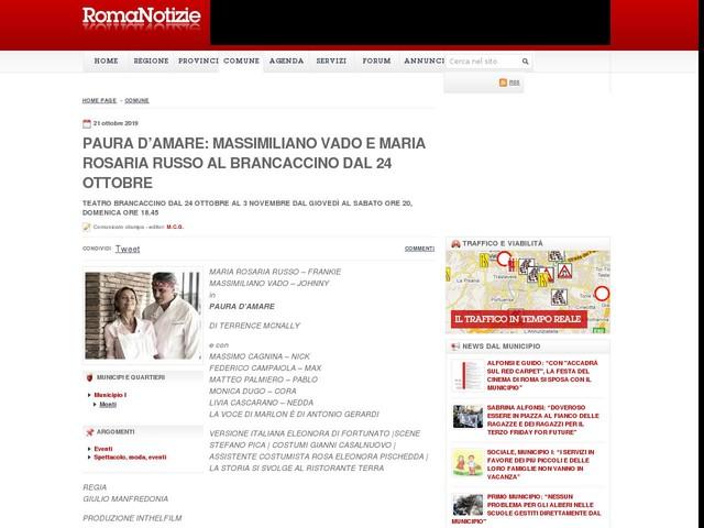 Paura d'amare: Massimiliano Vado e Maria Rosaria Russo al Brancaccino dal 24 ottobre
