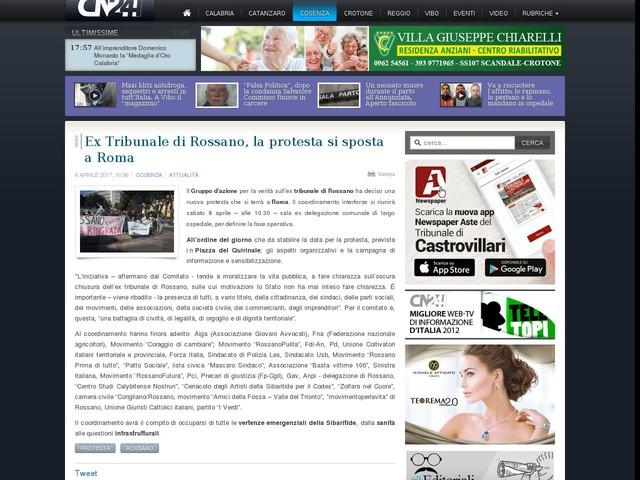 Ex Tribunale di Rossano, la protesta si sposta a Roma