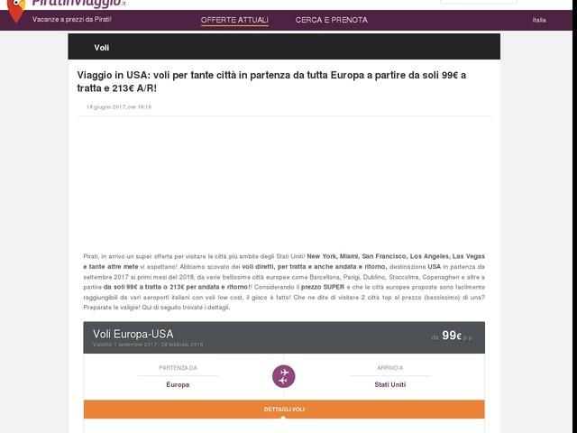 Viaggio in USA: voli per tante città in partenza da tutta Europa a partire da soli 99€ a tratta e 213€ A/R!