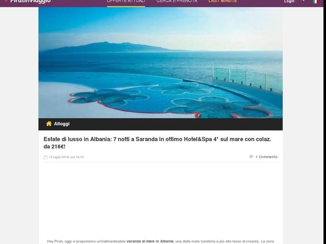 Estate di lusso in Albania: 7 notti a Saranda in ottimo Hotel&Spa 4* sul mare con colaz. da 216€!