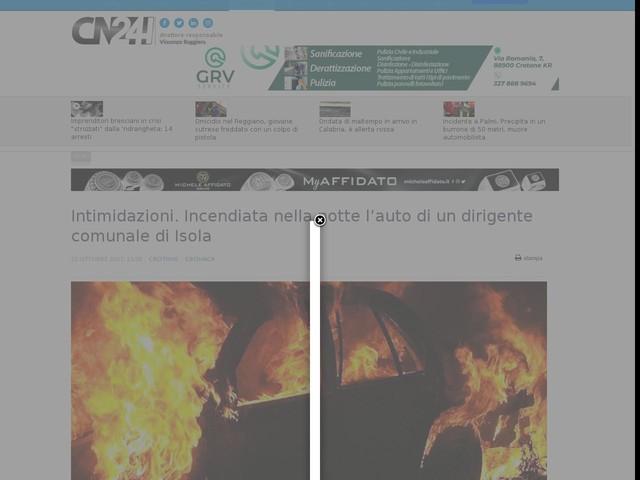 Intimidazioni. Incendiata nella notte l'auto di un dirigente comunale di Isola