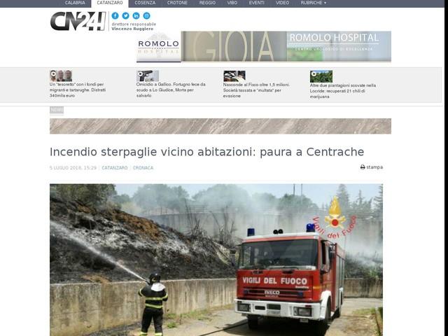 Incendio sterpaglie vicino abitazioni: paura a Centrache