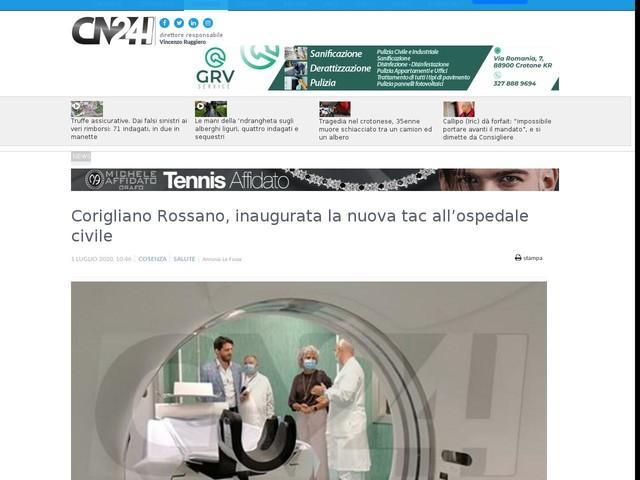 Corigliano Rossano, inaugurata la nuova tac all'ospedale civile