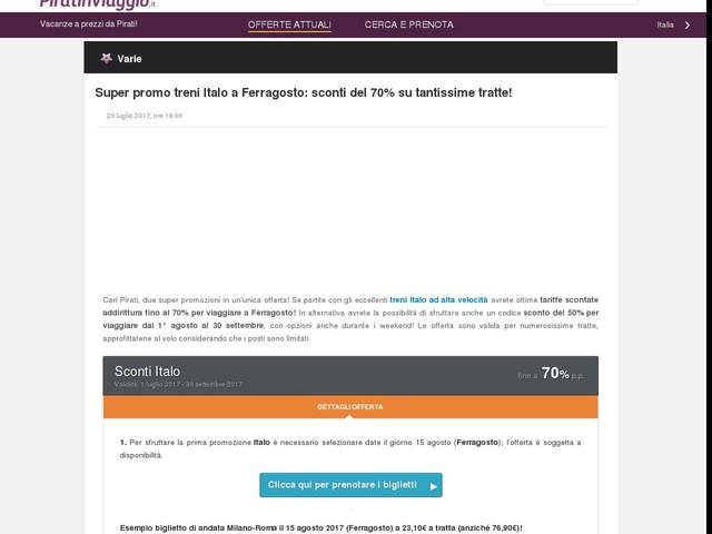 Super promo treni Italo a Ferragosto: sconti del 70% su tantissime tratte!