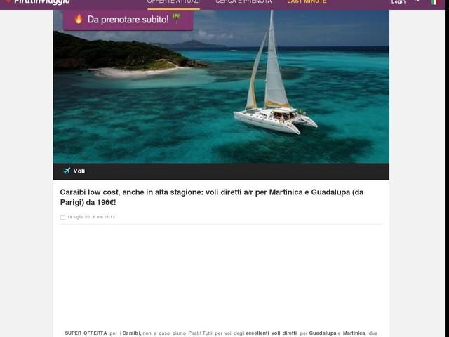 Caraibi low cost, anche in alta stagione: voli diretti a/r per Martinica e Guadalupa (da Parigi) da 196€!